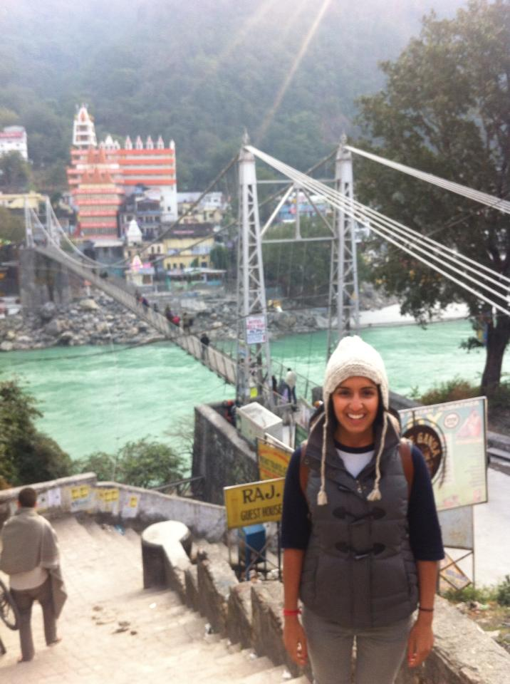 Standing in front of the ganga in the Himalayas